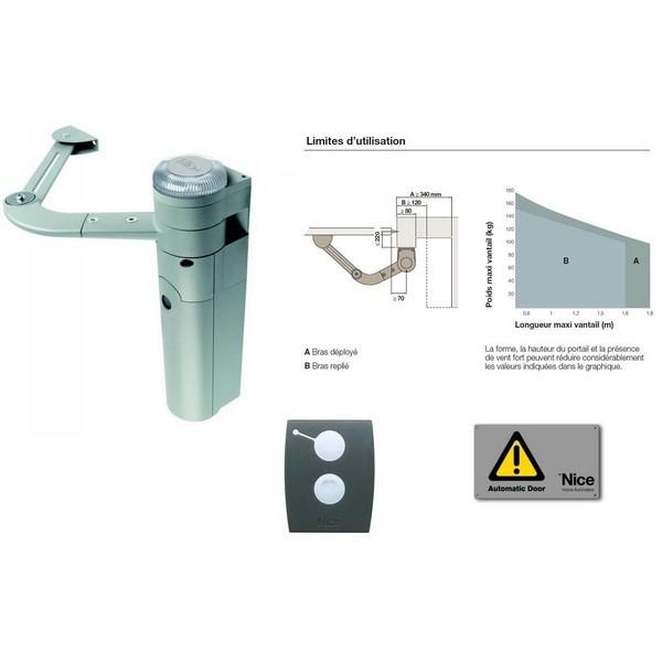 Kit d'automatisation bras articulé portail 1 battant env. 1,8m Walky Kit