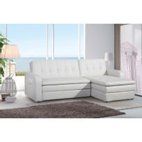 Comforium Canape Convertible A 2 Places En Cuir Synthetique Noir