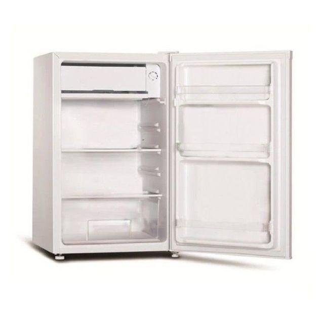 FRIGELUX Réfrigérateur une porte TOP122A+ - Blanc Classe énergétique A+Volume utile net 85L (77L + Freezer 8L)1 clayette verre, 1 bac légumes, 3 balconnetsThermostat mécaniqueDégivrage semi-automatiqueSilencieux 40 dB