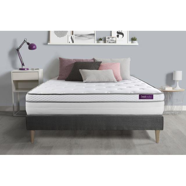 SEPTNUITS Matelas + sommier kit gris 160x200 Memo Luxe Ressorts ensachés + mémoire de forme 5 zones de confort MAXI épaisseur