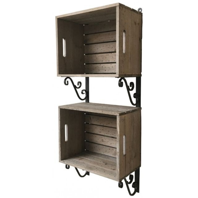 chemin de campagne etag re cageots caisses casiers cagettes bois fer murale 93 cm marron pas. Black Bedroom Furniture Sets. Home Design Ideas