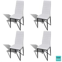 casasmart lot de 4 chaises salle manger design blanc - Chaise De Salle A Manger Design