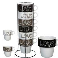 Touslescadeaux - 6 Tasses mugs à café, cappuccino, chocolat, thé - support métal