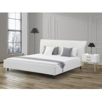 Beliani - Lit design en cuir - lit double 180x200 cm - blanc - sommier inclus - Saverne
