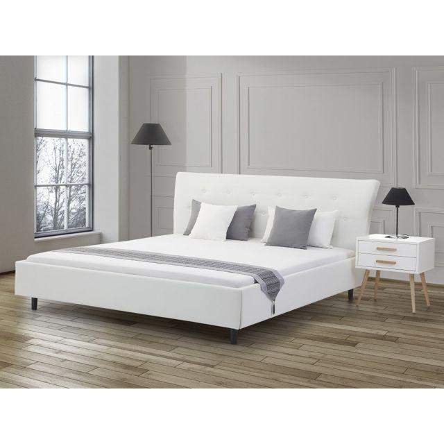 Beliani Lit design en cuir - lit double 160x200 cm - blanc - sommier inclus - Saverne
