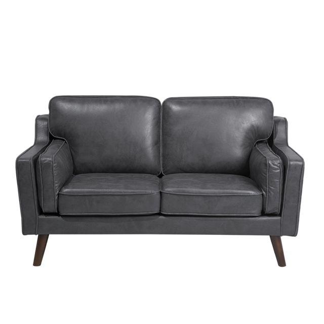 BELIANI Canapé 2 places gris en polyester imitation cuir LOKKA