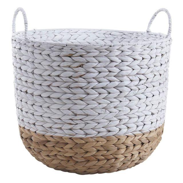 aubry gaspard cache pot en jacinthe naturel et blanc m. Black Bedroom Furniture Sets. Home Design Ideas