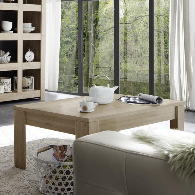 Kasalinea Table de salon 120 cm couleur chêne clair Agathe