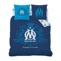 Olympique Marseillais - Housse de Couette et Taie d'Oreiller Om 60% Coton et 40% Polyester