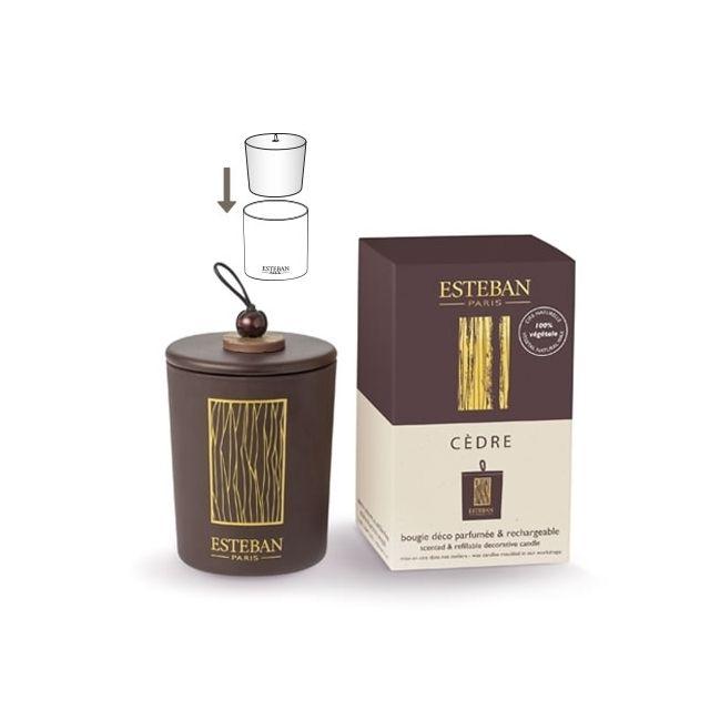 ESTEBAN - BOUGIE DECO PARFUME RECHARGEABLE CEDRE