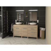 Meuble de salle de bain double vasque 150 cm finition chêne Hero - L 150 x l 46 x H 82