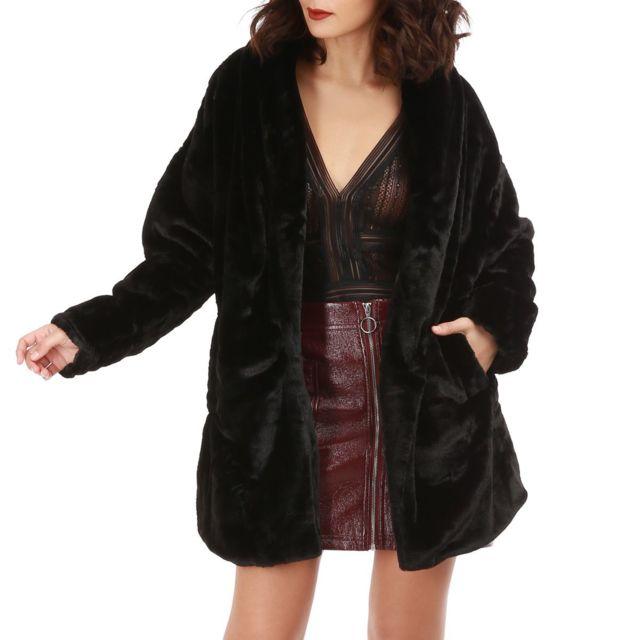 Manteau bordeaux fourrure noir