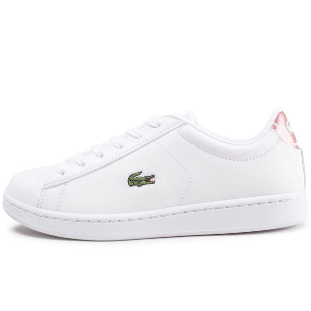 Lacoste - Carnaby Evo Junior Blanc Et Rose - pas cher Achat   Vente ... ce0a55365ce9