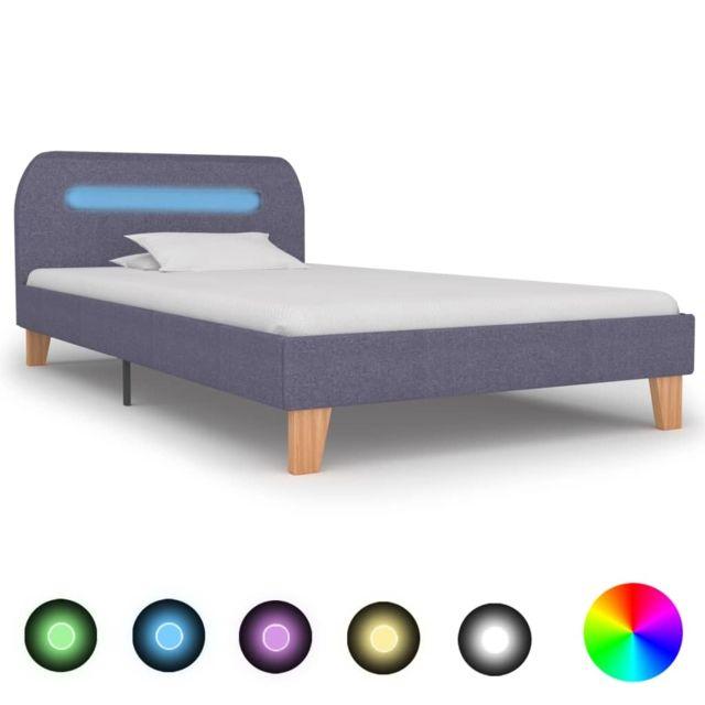 Uco Cadre de lit avec Led Gris clair Tissu 90 x 200 cm