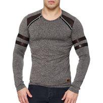 Marque Generique - Tee shirt manche longue homme Tee shirt 2801 gris foncé
