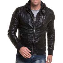 BLZ Jeans - Blouson aviateur homme noir à zips et capuche