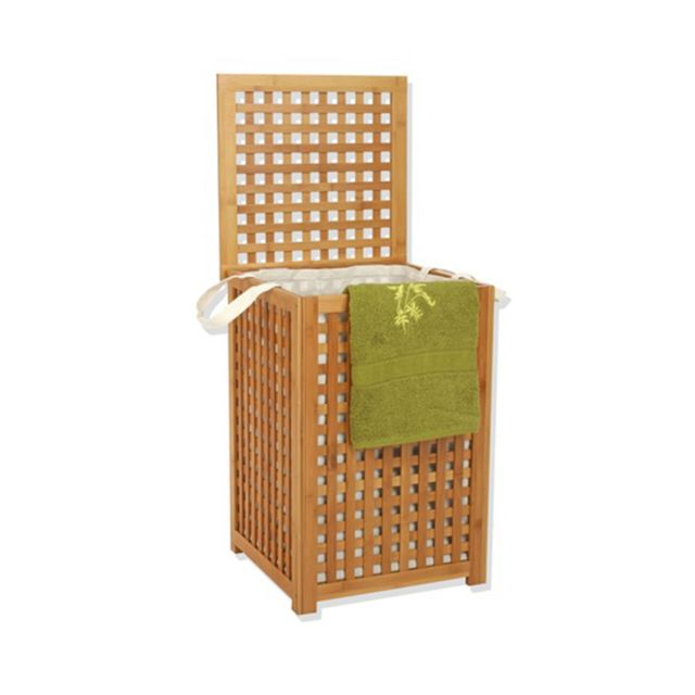 instant d 39 o coffre linge en bambou avec sac pas cher achat vente panier linge. Black Bedroom Furniture Sets. Home Design Ideas