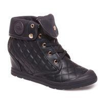 Lamodeuse - Baskets montantes noires style cuir matelassé