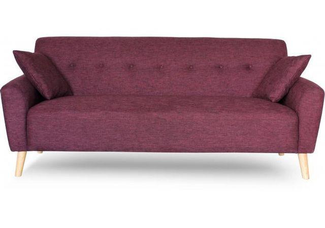 Declikdeco Le Canapé Scandinave 3 Places Tissu Bordeaux Kimiya ornera avec élégance votre salon. Son piètement en bois donnera une