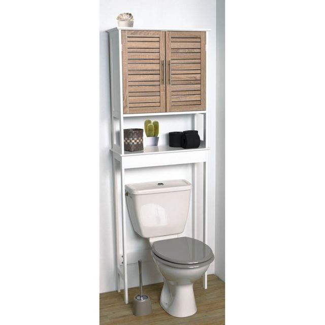 tendance meuble dessus wc 1 tablette blanc et imitation bois