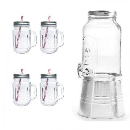Autre Distributeur de boissons en verre + seau à glace en acier galvanisé 5,76 litres + 4 mugs à poignée et couvercle + 4 pail
