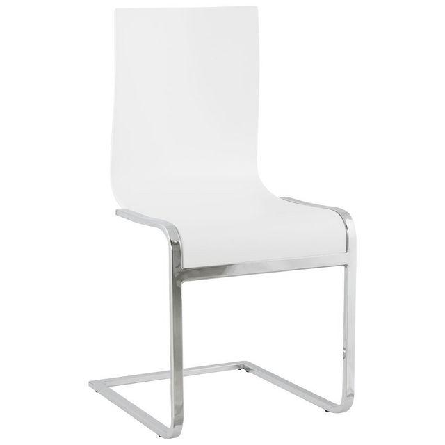 Alterego Chaise cantilever de salle à manger 'JACK' en bois blanc
