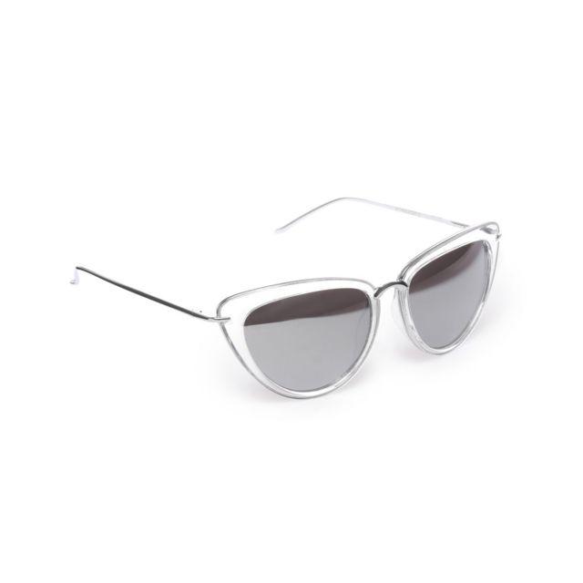 973b5de130aaf6 Lamodeuse - Lunettes de soleil oeil de chat transparentes verres miroir