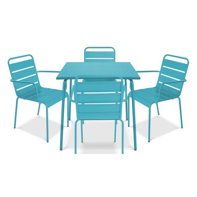 OVIALA - Table de jardin carrée en métal et 4 fauteuils, Palavas ...