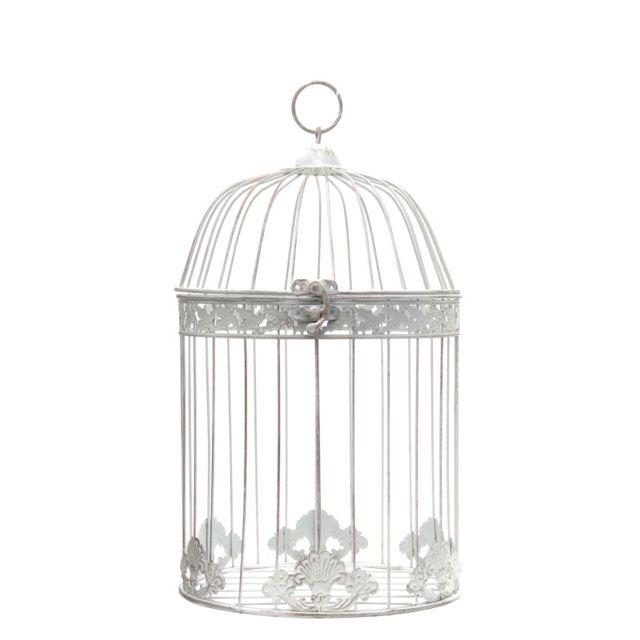 L'ORIGINALE Deco Cage Oiseaux Décoration Ronde Blanc 43 cm x ø25 cm