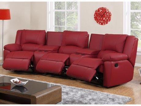 VENTE-UNIQUE - Canapé 3 places relax en cuir AROMA - Rouge Achat ...