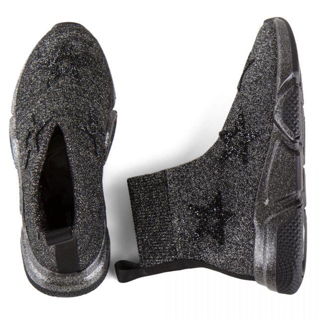 Studio Italia Baskets chaussettes montantes grises femme
