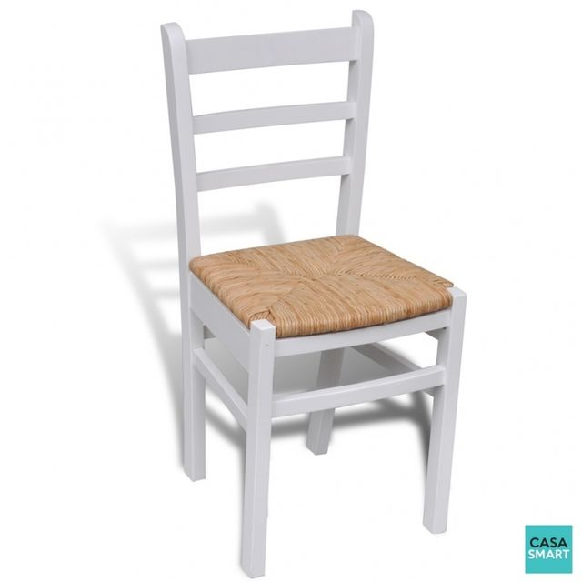 Casasmart Lot de 2 Chaises de salle à manger en bois blanc