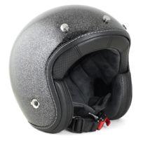 Harisson - casque jet moto scooter fibre noir pailleté - Ca201 L