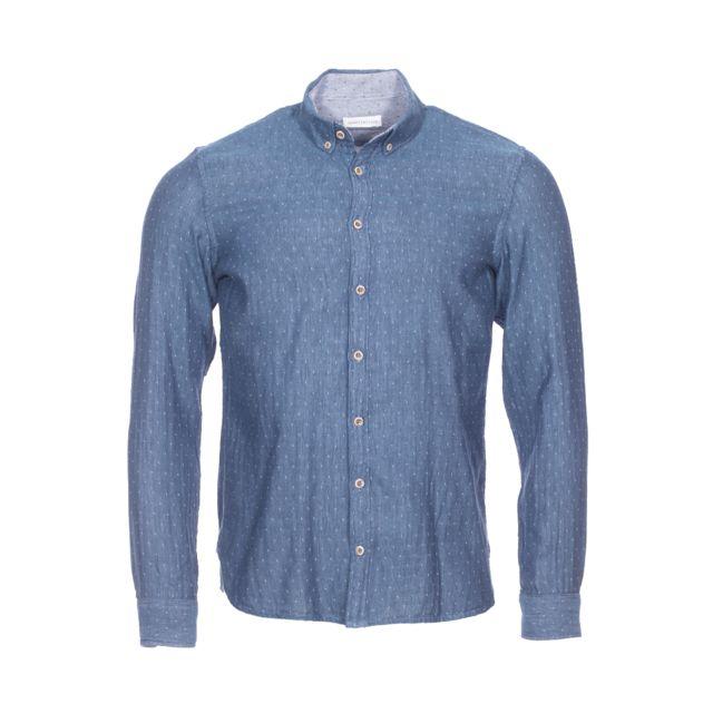 Harris Wilson Chemise cintrée Felipe Harris Wislon en coton bleu indigo à motifs blancs, effet lin