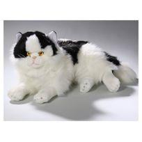 Carl Dick - Chat Peluche couché noir-blanc. 35cm Jouet