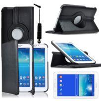 Vcomp - Housse avec support Et Rotation 360° en cuir Pu pour Samsung Galaxy Tab 3 Lite 7.0 T110/ Tab 3 Lite 7.0 Ve Wi-Fi T113/ Tab 3 V T116NU/ Tab 3 Lite 7.0 3G T111 + mini stylet - Noir