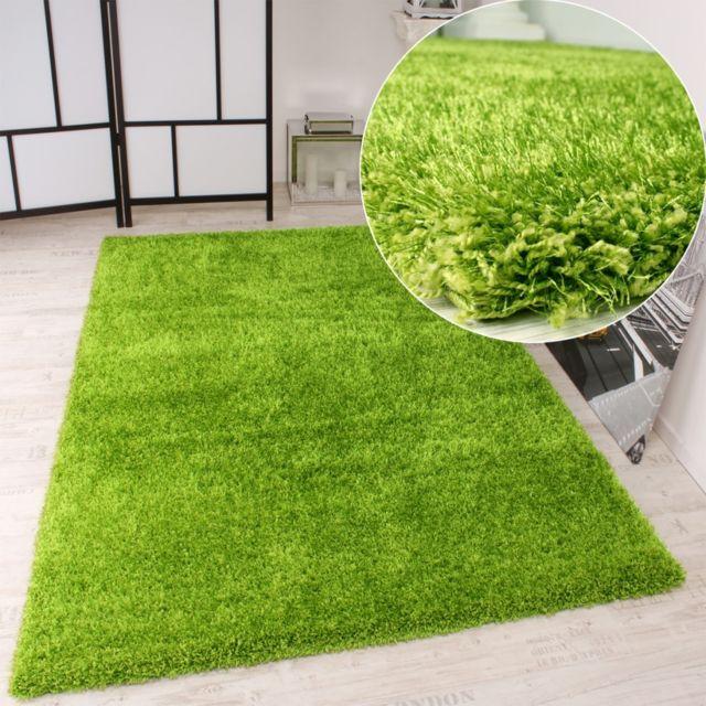 paco home tapis shaggy haut poil long poil qualit et prix abordable en vert 200x290 pas. Black Bedroom Furniture Sets. Home Design Ideas