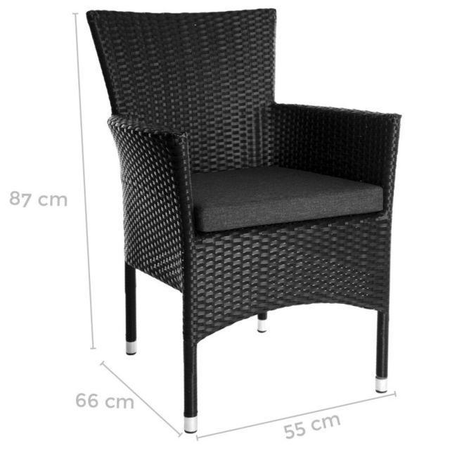 x de de 55 l rotin 2 Lot 66 H 87 x jardin noir Madrid avec noir L fauteuils coussin en empilables ucTKJ3F1l