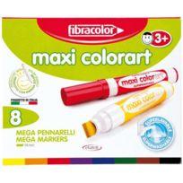 Fibracolor - Boîte de 8 maxi feutres colorart biseautés
