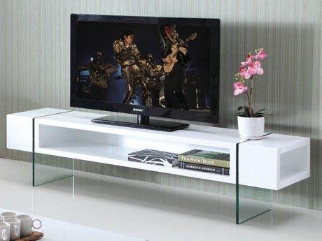 Marque Generique Meuble Tv Brooke - Mdf laqué et verre trempé - Blanc