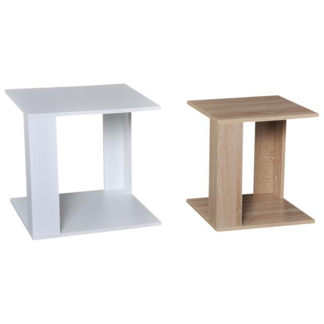 meilleures baskets e1033 e9f10 Tables basses gigognes style cosy lot de 2 tables basses encastrables  panneaux particules chêne clair blanc