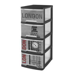 curver tour de rangement roulettes 4 tiroirs 10l imprim londres 203619 noir et gris. Black Bedroom Furniture Sets. Home Design Ideas