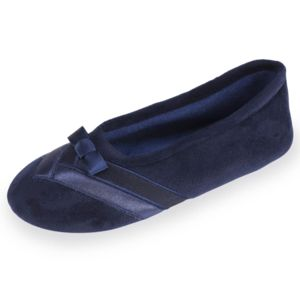 Isotoner Chaussons WELL ballerines femme détail satin Noir 79qupyyUi5