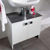 - Meuble sous lavabo 2 portes - largeur 59cm coloris blanc et anthracite