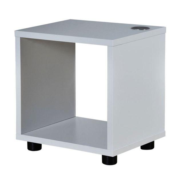 Soldes tousmesmeubles table de chevet avec chargeur - Table de chevet laque blanc brillant ...