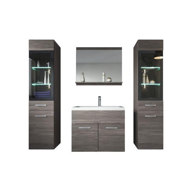 Meuble de salle de bain Rio xl Led 60 cm lavabo Bodega gris Armoire de  rangement Meuble lavabo