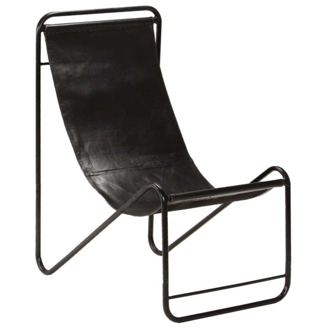 Joli Fauteuils collection Freetown Chaise de relaxation Cuir véritable 50x78x90 cm Noir