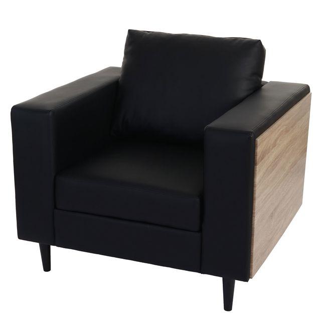 Mendler Fauteuil Nancy, fauteuil de salon / club, bois, aspect chêne ~ similicuir, noir