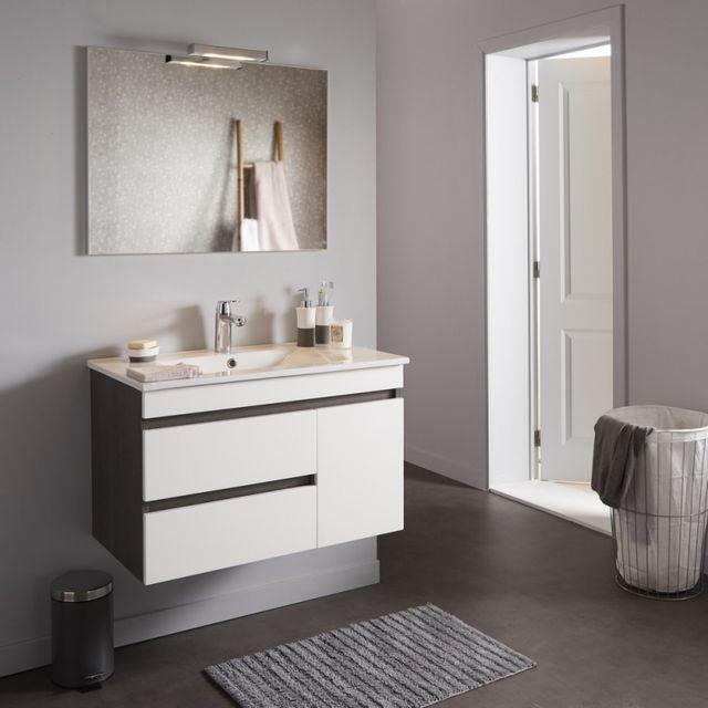 Planetebain - Meuble de salle de bain décor wengé avec miroir ...
