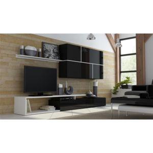 soldes chloe design ensemble meuble tv design roya noir et blanc pas cher achat vente. Black Bedroom Furniture Sets. Home Design Ideas